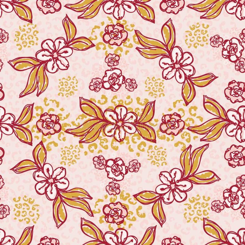 Daisy Floral Vetora Pattern Hand retro tirada, ilustração sem emenda da flor do estilo do vintage ilustração royalty free