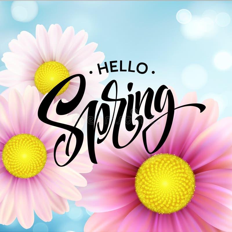 Daisy Flower Background und hallo Frühlings-Beschriftung Auch im corel abgehobenen Betrag vektor abbildung