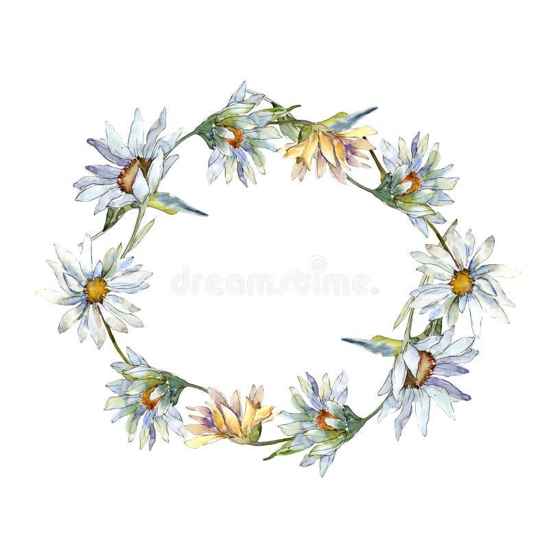 Daisy Flower bianca Fiore botanico floreale Quadrato dell'ornamento del confine della pagina royalty illustrazione gratis