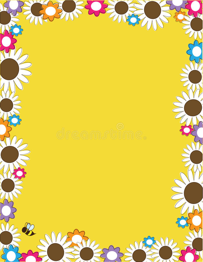 Daisy Flower Border Full royalty-vrije illustratie