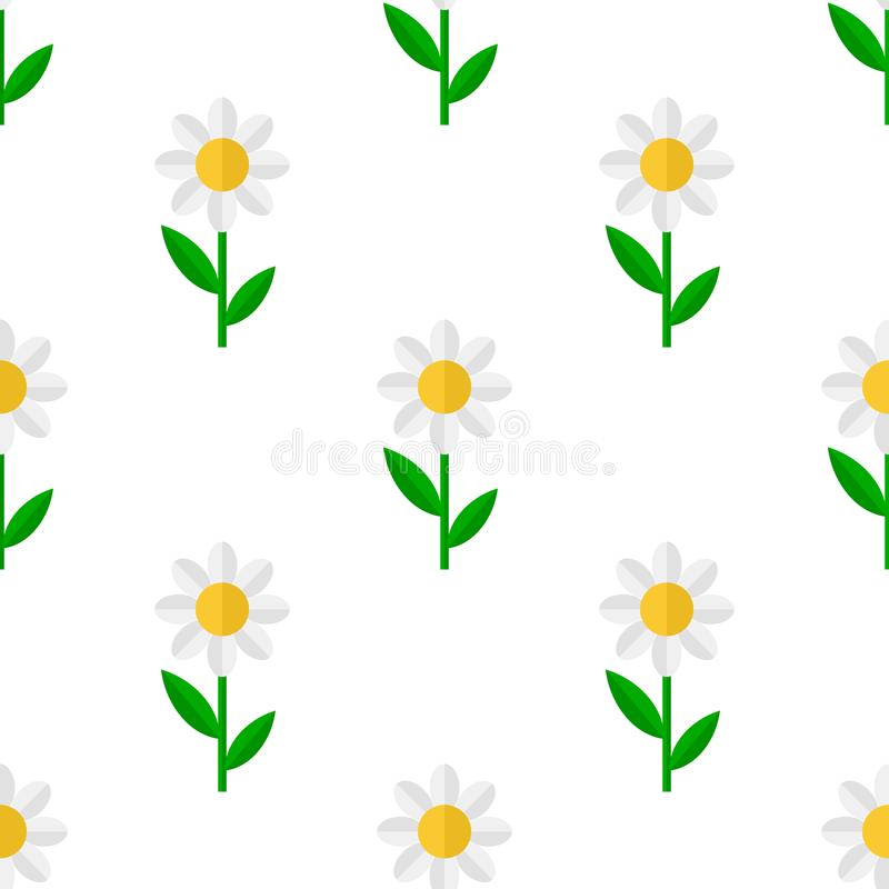 Daisy Flower Flat Icon Seamless Pattern royalty free illustration