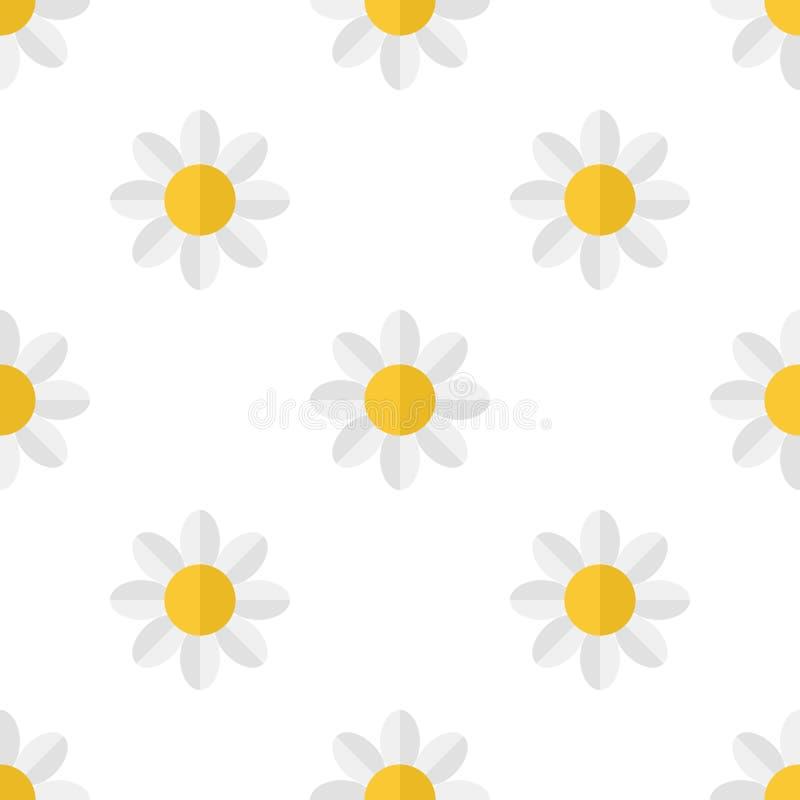 Daisy Flower Icon Seamless Pattern blanca ilustración del vector