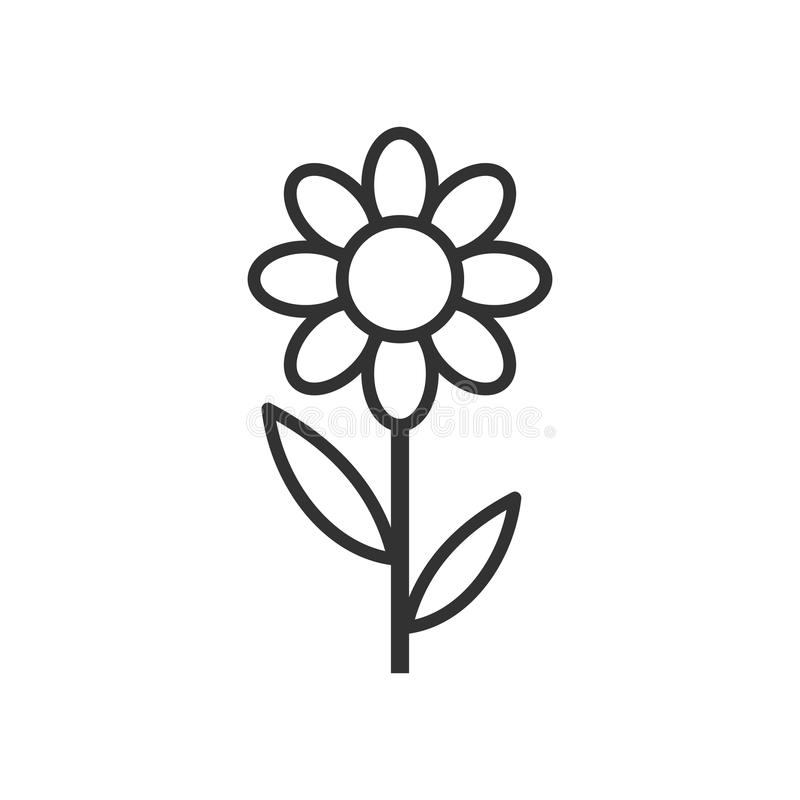 Daisy Flower Outline Flat Icon on White royalty free illustration