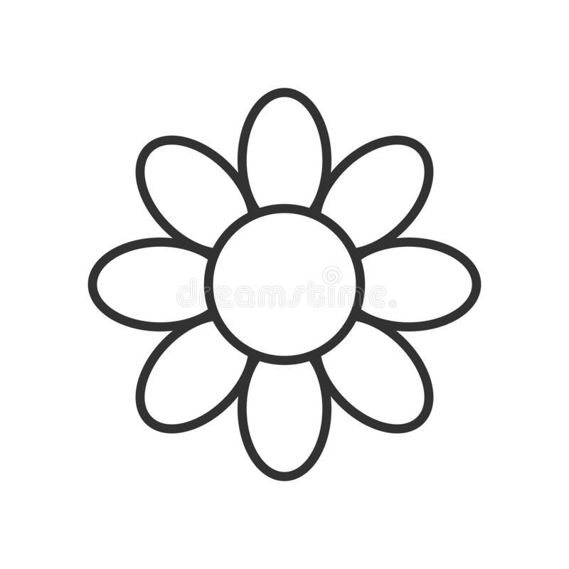 Daisy Flower Outline Icon on White royalty free illustration