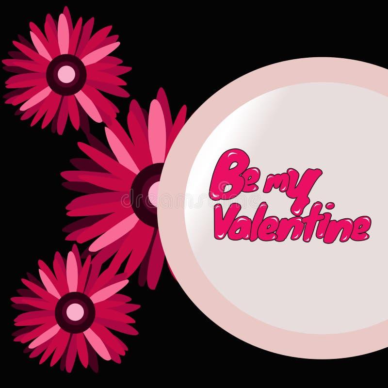 3 Daisy Flowers con Valentine Message imagen de archivo