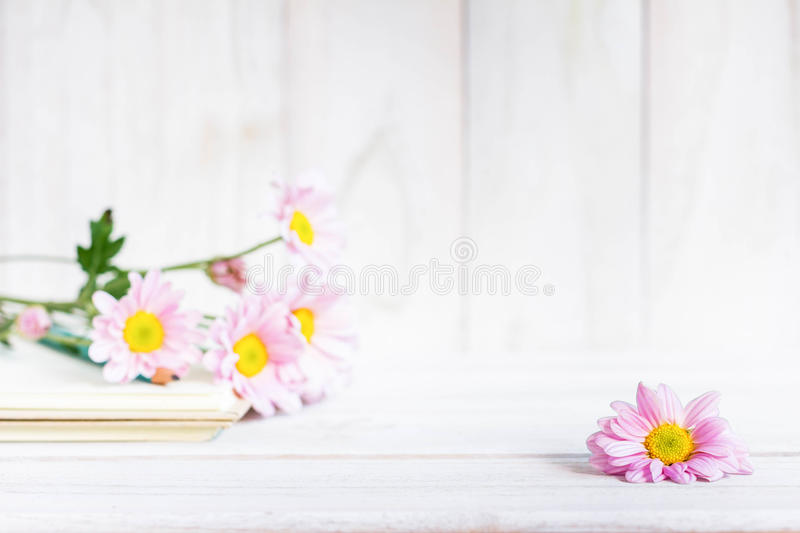 Daisy flowers on the white table.  stock photo