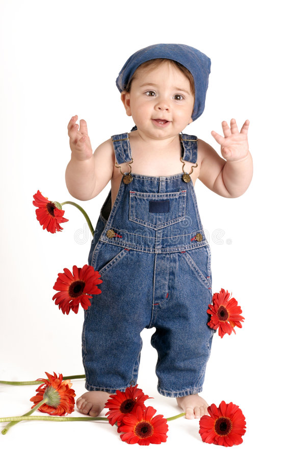 Daisy Girl with Hand Up royalty free stock photography