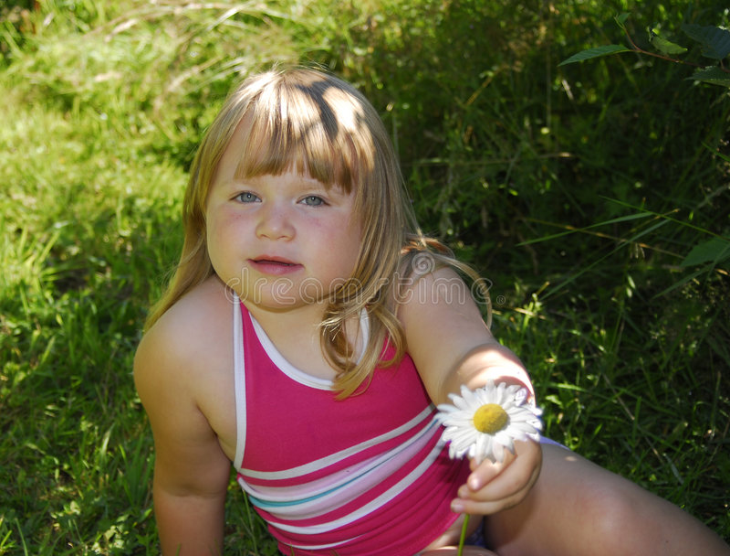 Download Daisy kwiat dziewczyną obraz stock. Obraz złożonej z dzieciak - 1241377