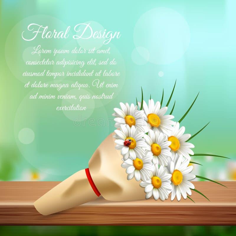 Daisy Realistic Gentle Composition stock illustrationer