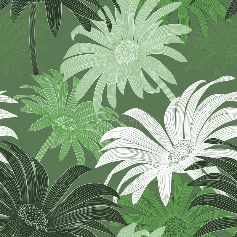Daisy seamless pattern stock illustration