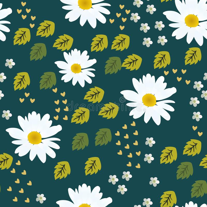 Daisy seamless pattern in vector. Print for fabric, paper, wallpaper, packaging design.  stock illustration