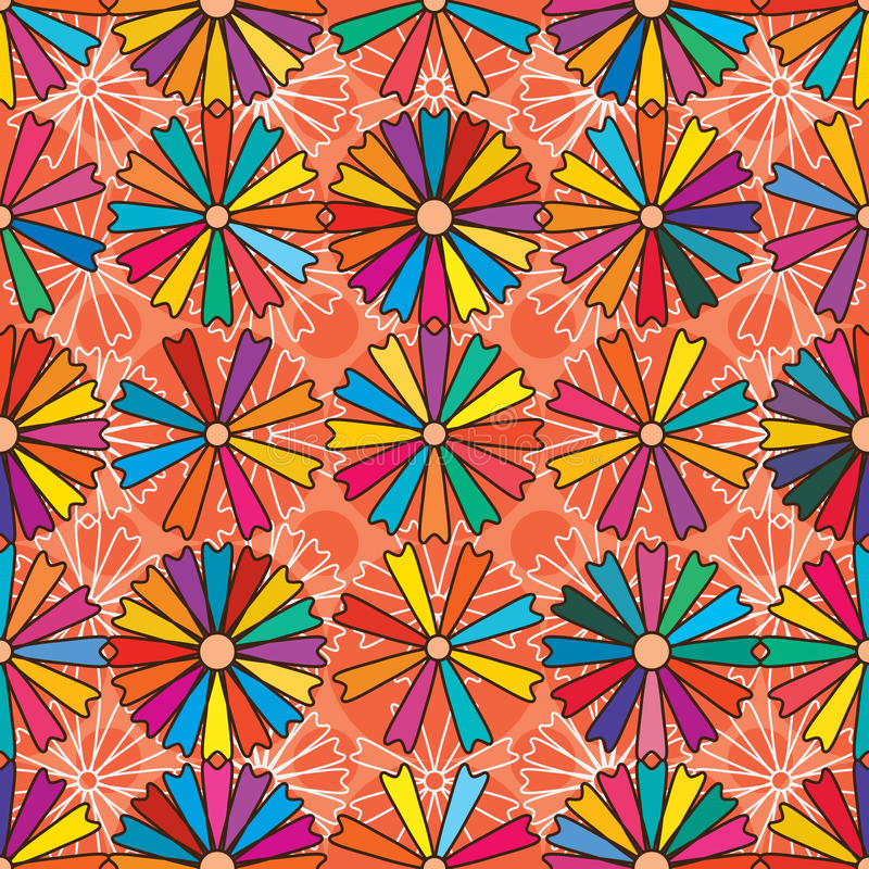 Daisy shape colorful seamless pattern royalty free illustration