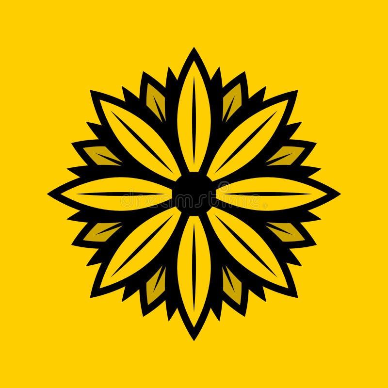 Daisy Solid Logo Design vektor illustrationer
