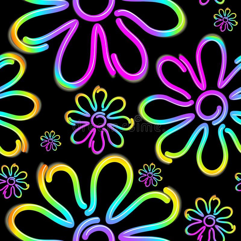 Free Daisy Spring Flower Psycnedelic Neon Light Vector Seamless Pattern Design Stock Image - 144505911