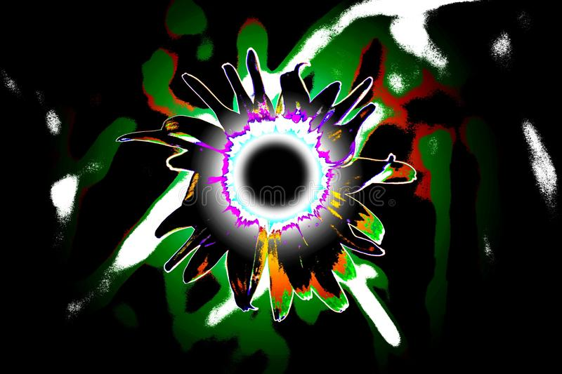Daisy Super Nova. Photo of a daisy that I altered into this colorful glowing, pulsing star. `A supernova happens where there is a change in the core, or center royalty free illustration
