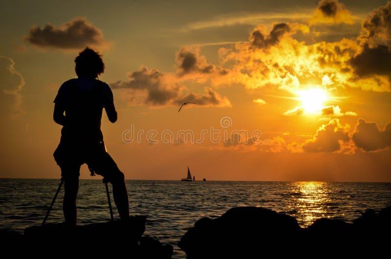 daj się narażenia na plaży wolnym miękkim sunset fala bardzo obrazy royalty free