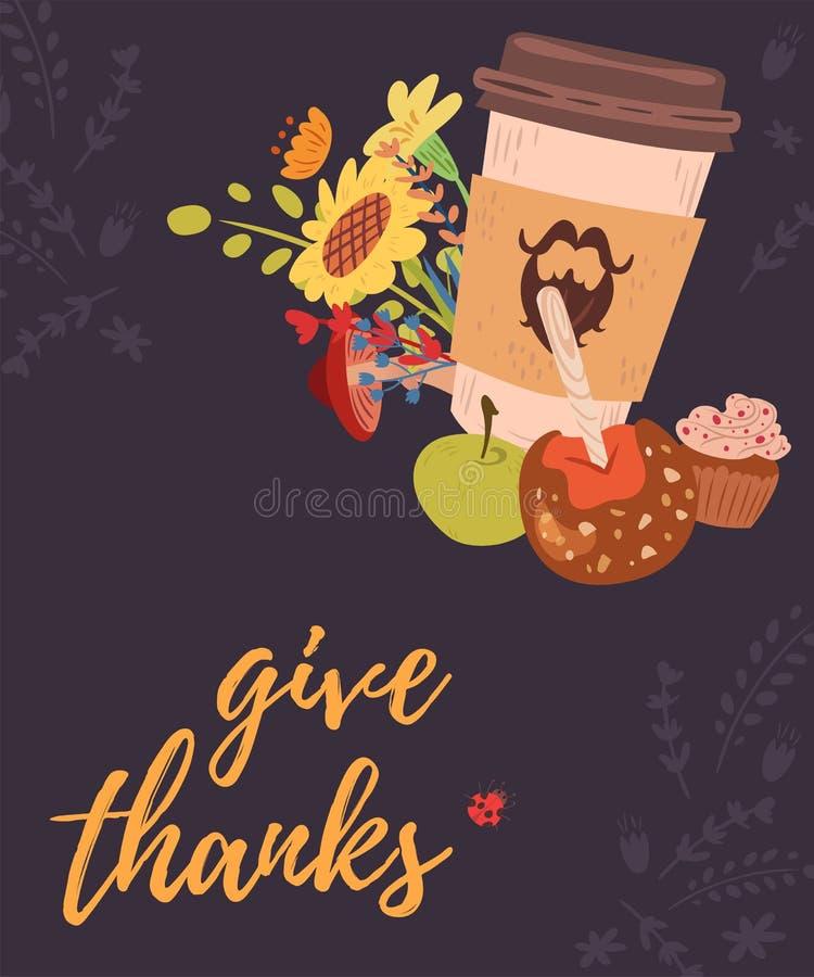 Daje dzięki kartka z pozdrowieniami z kawą ilustracja wektor