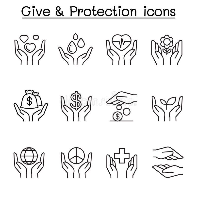 Daje, ochrona, darowizna, dobroczynności ikona ustawiająca w cienkim kreskowym stylu ilustracja wektor