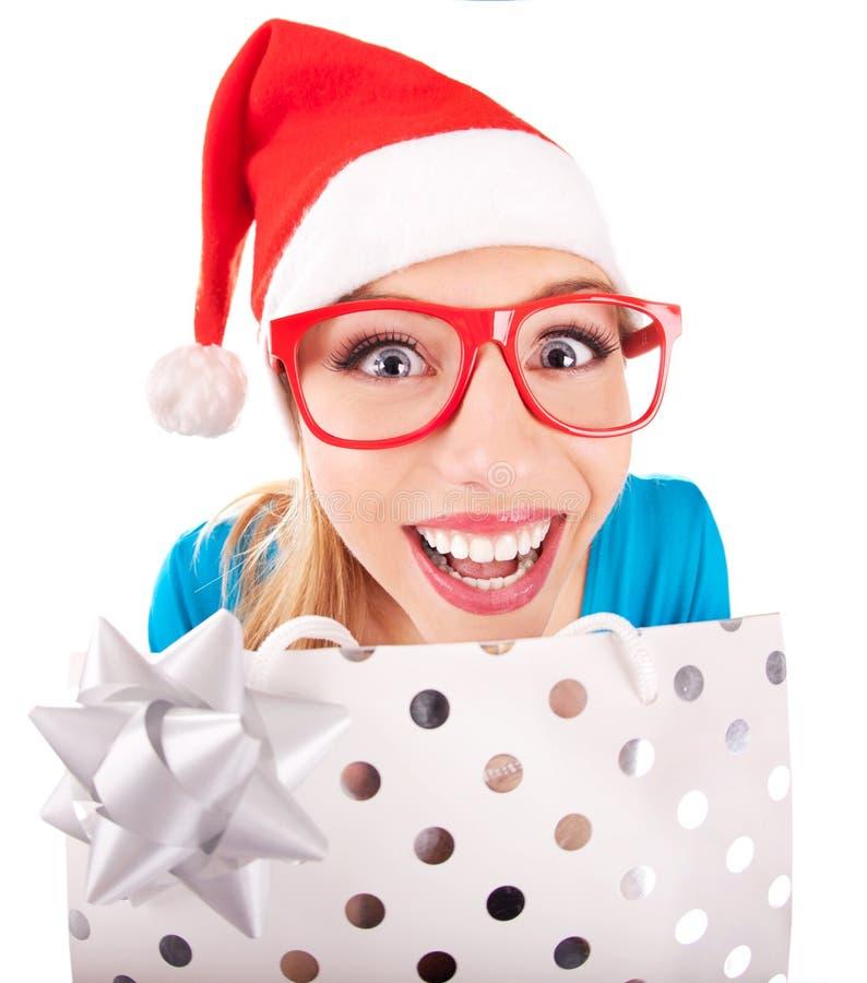 Daje teraźniejszości Santa śmieszna dziewczyna obraz stock