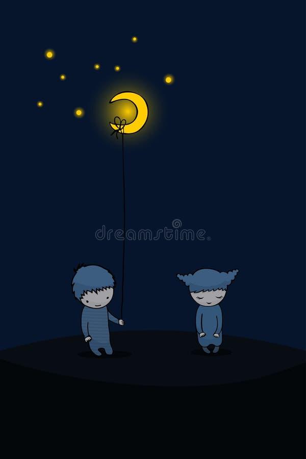 daje ty i ll księżyc ilustracja wektor