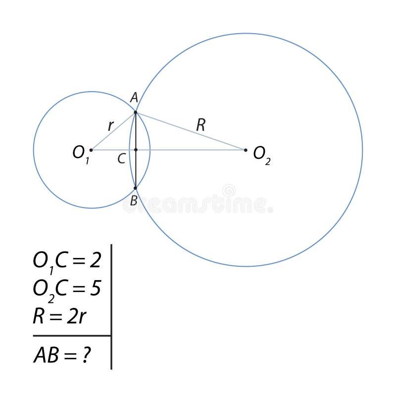 Daje zadanie dla kalkulować sumarycznego akord dwa okręgu ilustracja wektor