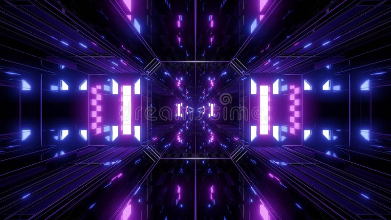 Dak reflective scifi tunnel background with nicec glow 3d illustration 3d rendering royalty free illustration