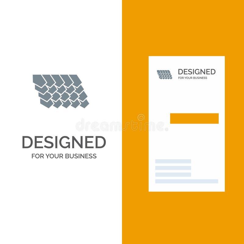 Dak, Tegel, Bovenkant, Bouw Grey Logo Design en Visitekaartjemalplaatje royalty-vrije illustratie