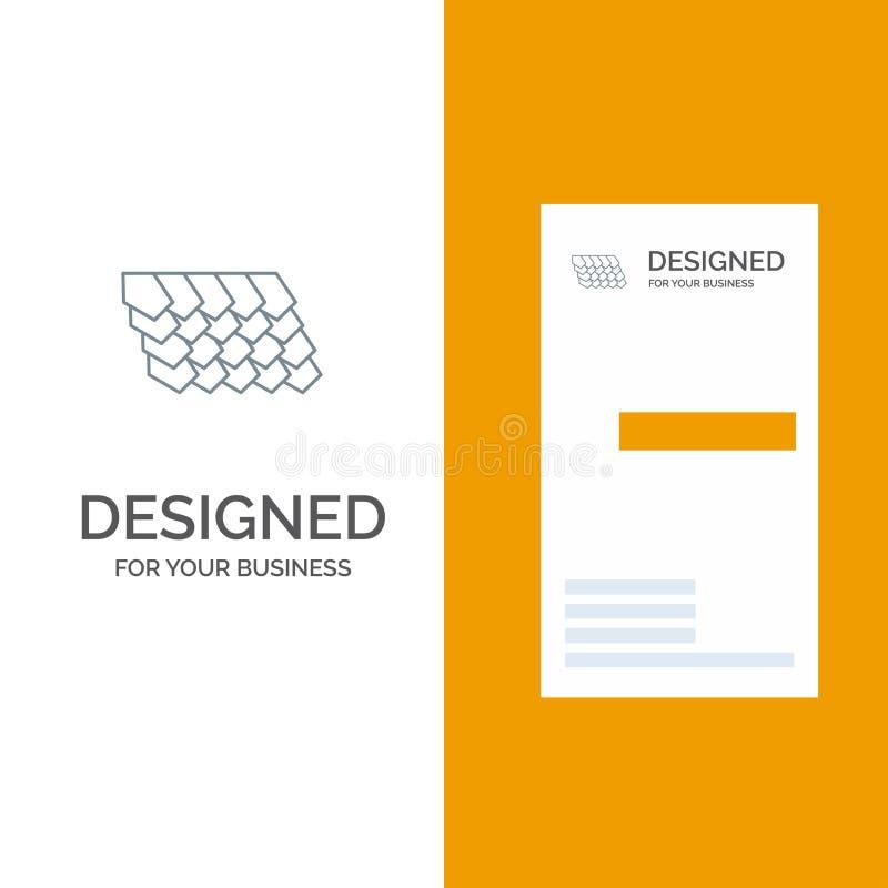 Dak, Tegel, Bovenkant, Bouw Grey Logo Design en Visitekaartjemalplaatje stock illustratie