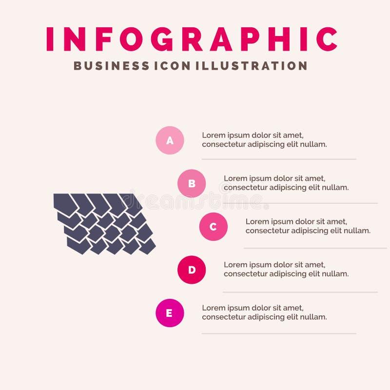 Dak, Tegel, Bovenkant, Bouw Stevig Pictogram Infographics 5 de Achtergrond van de Stappenpresentatie stock illustratie