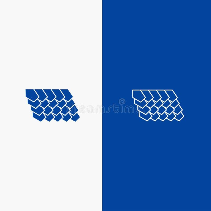 Dak, Tegel, Bovenkant, Bouwlijn en Lijn van de het pictogram Blauwe banner van Glyph de Stevige en Stevige het pictogram Blauwe b stock illustratie
