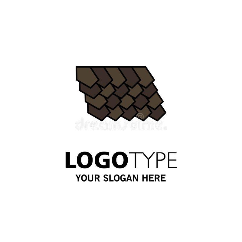 Dak, Tegel, Bovenkant, Bouwvak Logo Template vlakke kleur stock illustratie