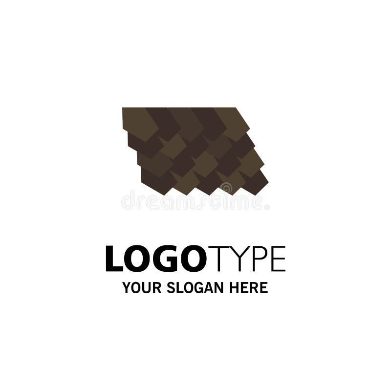 Dak, Tegel, Bovenkant, Bouwvak Logo Template vlakke kleur royalty-vrije illustratie