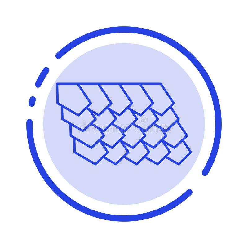 Dak, Tegel, Bovenkant, de Lijnpictogram van de Bouw Blauw Gestippelde Lijn stock illustratie