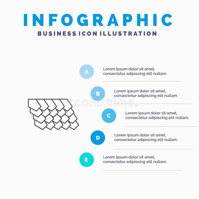 Dak, Tegel, Bovenkant, het pictogram van de Bouwlijn met infographicsachtergrond van de 5 stappenpresentatie vector illustratie