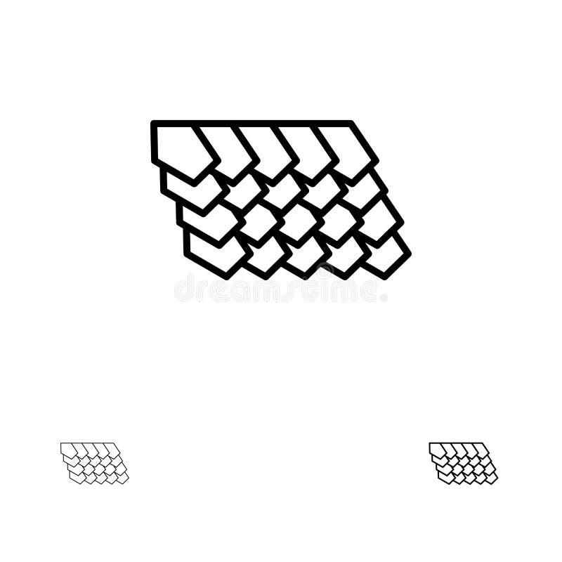 Dak, Tegel, Bovenkant, het pictogramreeks van de Bouw Gewaagde en dunne zwarte lijn vector illustratie