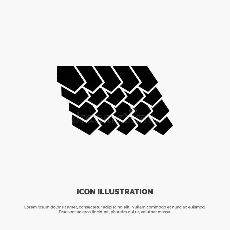 Dak, Tegel, Bovenkant, het Pictogramvector van Bouw stevige Glyph stock illustratie