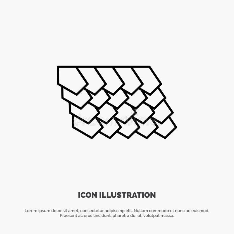 Dak, Tegel, Bovenkant, het Pictogramvector van de Bouwlijn vector illustratie