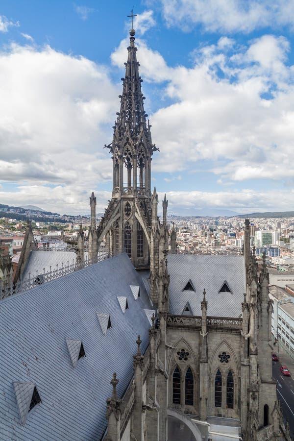 Dak van de Basiliek van de Nationale Gelofte in Quito royalty-vrije stock foto