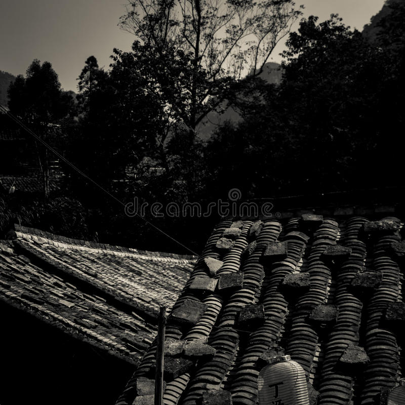 Dak van de oude Chinese bouw stock foto