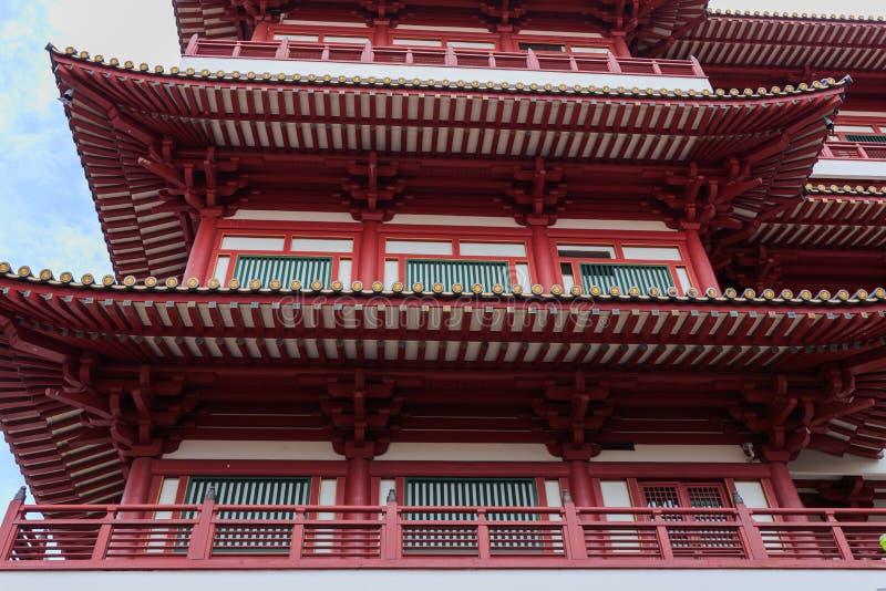 Dak van de Tempel van het de Tandoverblijfsel van Boedha bij de stad van China, Singapore stock afbeeldingen