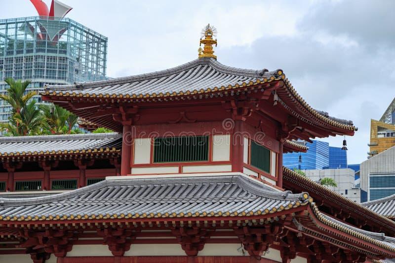 Dak van de Tempel van het de Tandoverblijfsel van Boedha bij de stad van China, Singapore royalty-vrije stock foto's