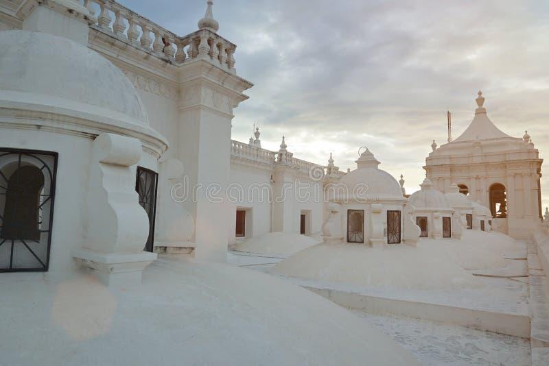 Dak van de witte kathedraal van Asuncion stock afbeelding