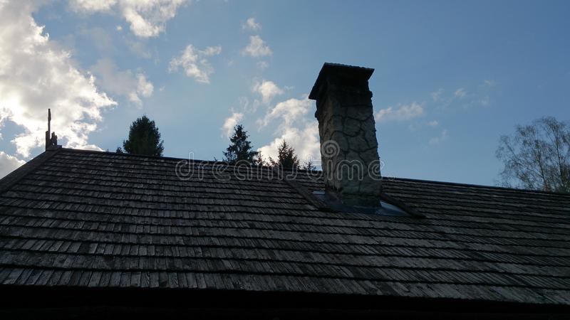 Dak van het dorp van Vikingen stock afbeeldingen