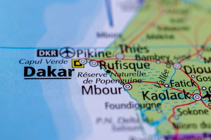 Dakar en mapa imagenes de archivo