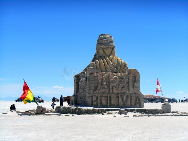 Dakar in the province of Oruro. Statue of salt, in the middle of the highest salt desert in the world and extensive, is located in the city of Oruro, Bolivia stock photo