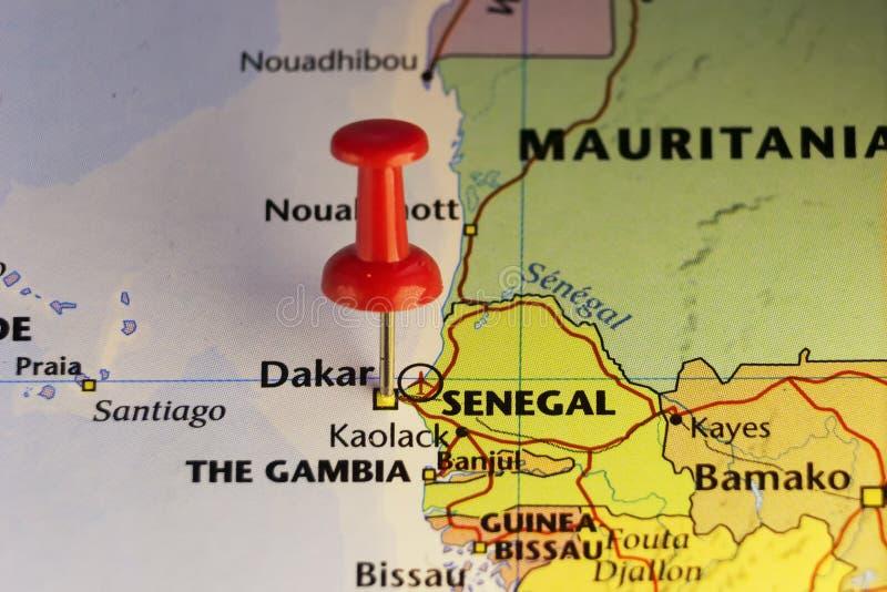 Dakar przyczepiał mapę, kapitał Senegal ilustracja wektor