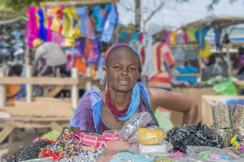 Dakar, Senegal, Africa – July 20, 2014: Unidentified street seller at Sandaga Market stock photo