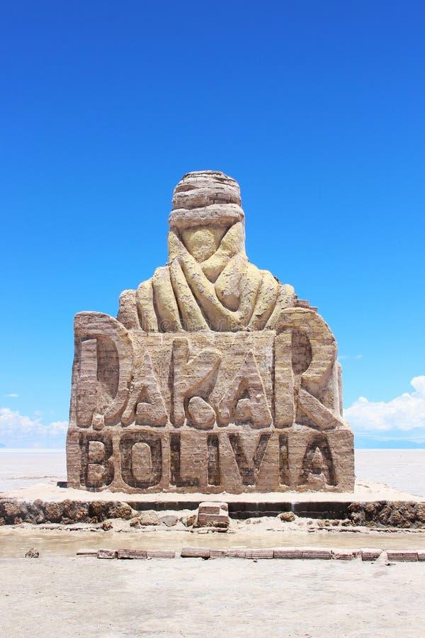 Dakar staty i Salar de uyuni royaltyfri foto