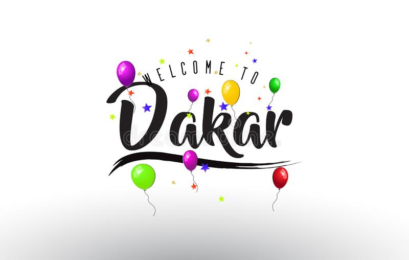 Dakar Welcome to Text with Colorful Balloons and Stars Design stock illustration