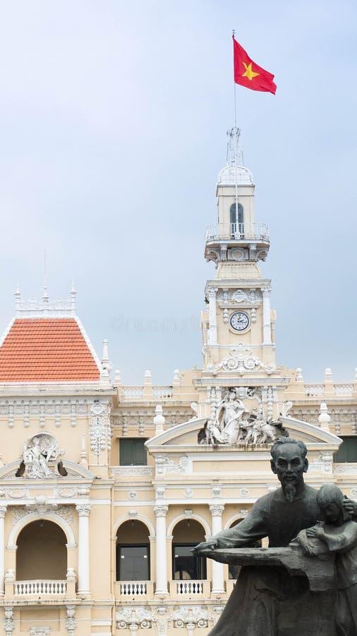 Dakbovenkant, het stadhuis van Ho-Chi-Minh-Stad, Vietnam royalty-vrije stock afbeeldingen